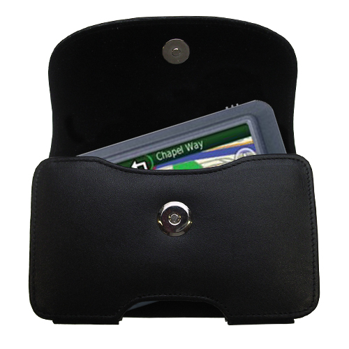 Gomadic Brand Horizontal Black Leather Carrying Case for the Garmin Nuvi 255 with Integrated Belt Loop and Optional Belt Clip