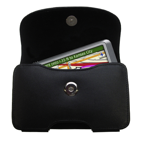 Gomadic Brand Horizontal Black Leather Carrying Case for the Garmin Nuvi 255W 255WT 255 with Integrated Belt Loop and Optional Belt Clip