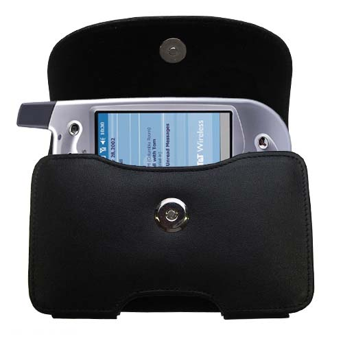Gomadic Brand Horizontal Black Leather Carrying Case for the HTC Falcon Smartphone with Integrated Belt Loop and Optional Belt Clip