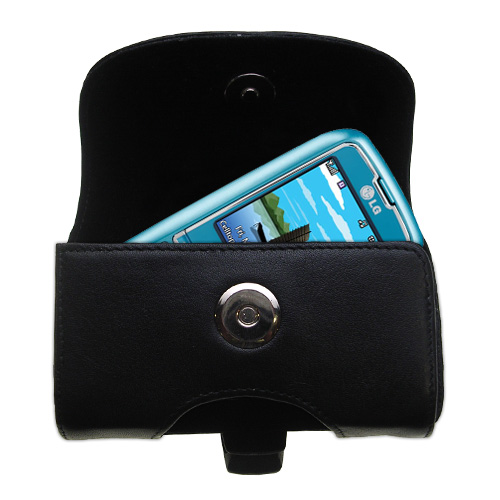 Gomadic Brand Horizontal Black Leather Carrying Case for the LG Scoop with Integrated Belt Loop and Optional Belt Clip