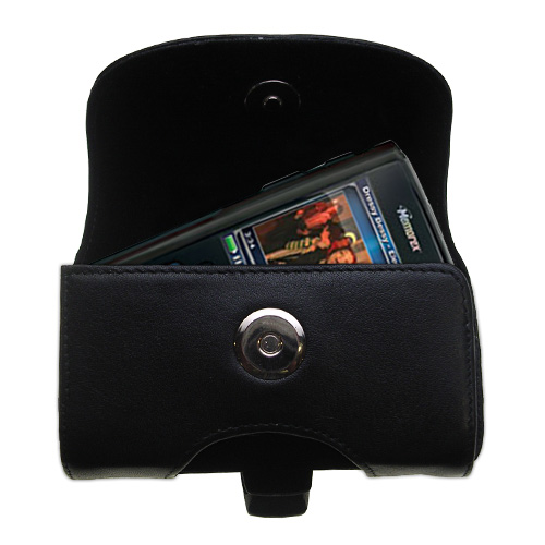 Gomadic Brand Horizontal Black Leather Carrying Case for the Memorex MMP8620 MMP8640 with Integrated Belt Loop and Optional Belt Clip