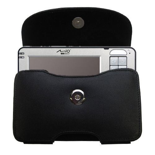 Gomadic Brand Horizontal Black Leather Carrying Case for the Mio 169 with Integrated Belt Loop and Optional Belt Clip