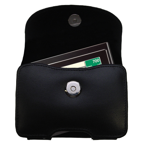 Gomadic Brand Horizontal Black Leather Carrying Case for the Mio Moov 200 210 with Integrated Belt Loop and Optional Belt Clip