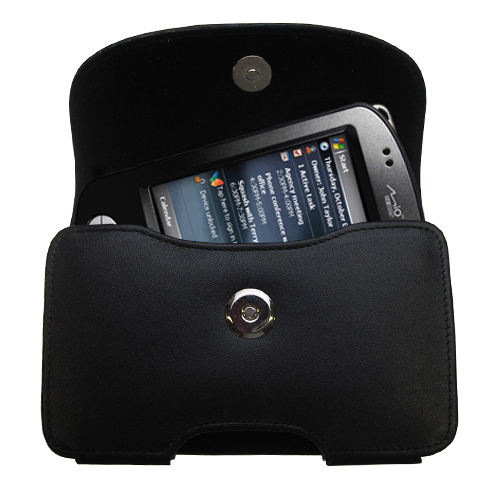 Gomadic Brand Horizontal Black Leather Carrying Case for the Mio P550 with Integrated Belt Loop and Optional Belt Clip