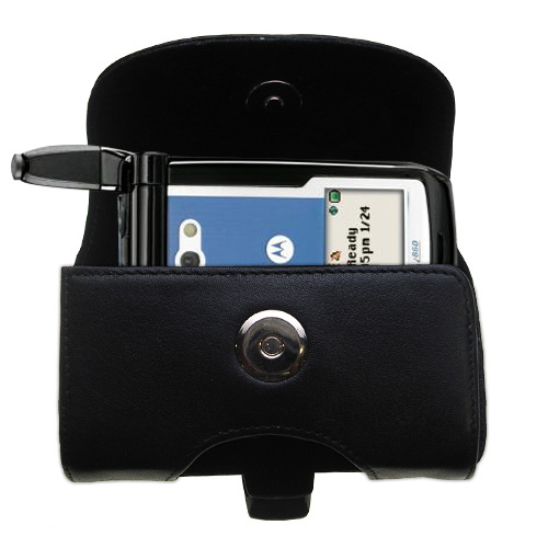 Gomadic Brand Horizontal Black Leather Carrying Case for the Motorola i860 with Integrated Belt Loop and Optional Belt Clip