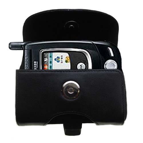 Gomadic Brand Horizontal Black Leather Carrying Case for the Motorola V557 with Integrated Belt Loop and Optional Belt Clip