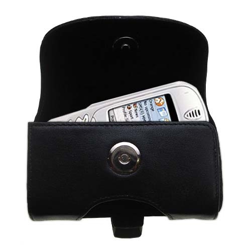 Gomadic Brand Horizontal Black Leather Carrying Case for the Orange SPV Smartphone with Integrated Belt Loop and Optional Belt Clip
