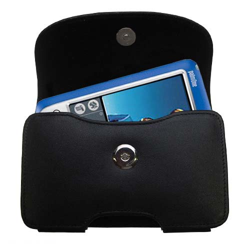 Gomadic Brand Horizontal Black Leather Carrying Case for the Palm palm Zire 72s with Integrated Belt Loop and Optional Belt Clip