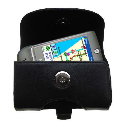 Gomadic Brand Horizontal Black Leather Carrying Case for the Pharos GPS 525E with Integrated Belt Loop and Optional Belt Clip