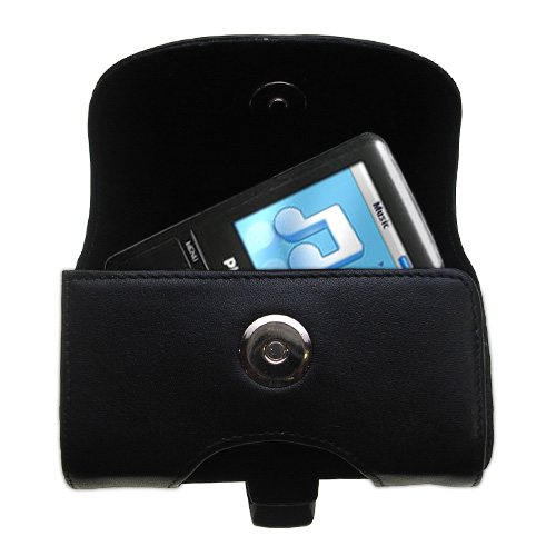 Gomadic Brand Horizontal Black Leather Carrying Case for the Philips GoGear SA3125/37 with Integrated Belt Loop and Optional Belt Clip