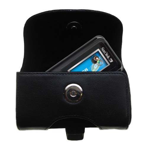 Gomadic Brand Horizontal Black Leather Carrying Case for the Sandisk Sansa c100 with Integrated Belt Loop and Optional Belt Clip
