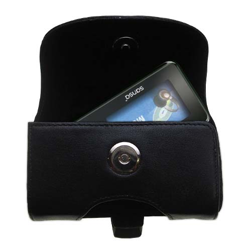 Gomadic Brand Horizontal Black Leather Carrying Case for the Sandisk Sansa c240 with Integrated Belt Loop and Optional Belt Clip