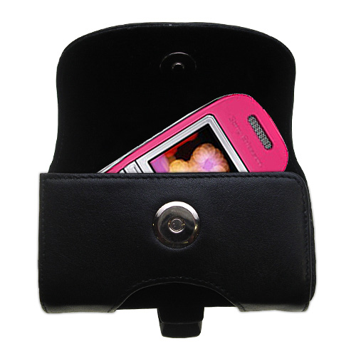 Gomadic Brand Horizontal Black Leather Carrying Case for the Sony Ericsson J300c with Integrated Belt Loop and Optional Belt Clip