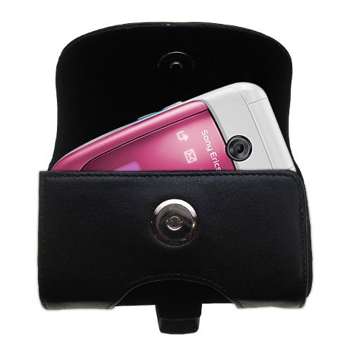 Gomadic Brand Horizontal Black Leather Carrying Case for the Sony Ericsson z310i with Integrated Belt Loop and Optional Belt Clip