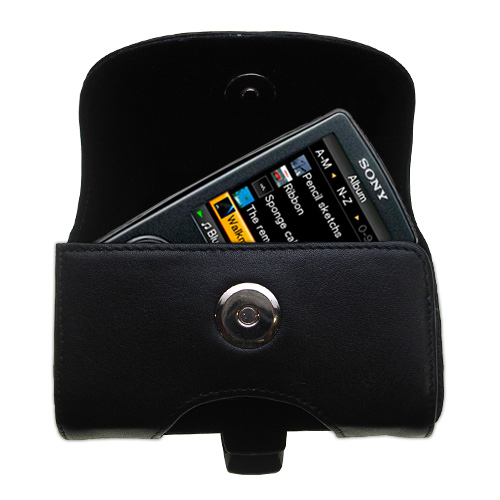 Gomadic Brand Horizontal Black Leather Carrying Case for the Sony Walkman NWZ-A805 with Integrated Belt Loop and Optional Belt Clip