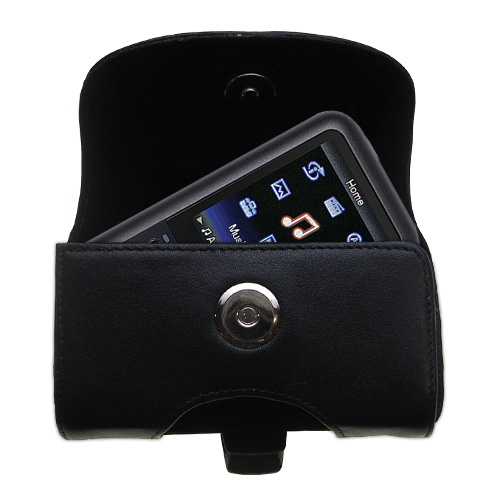 Gomadic Brand Horizontal Black Leather Carrying Case for the Sony Walkman NWZ-S616 with Integrated Belt Loop and Optional Belt Clip