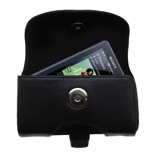Gomadic Brand Horizontal Black Leather Carrying Case for the Sony X Series with Integrated Belt Loop and Optional Belt Clip