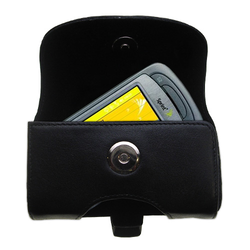 Gomadic Brand Horizontal Black Leather Carrying Case for the Sprint PPC-6800 with Integrated Belt Loop and Optional Belt Clip