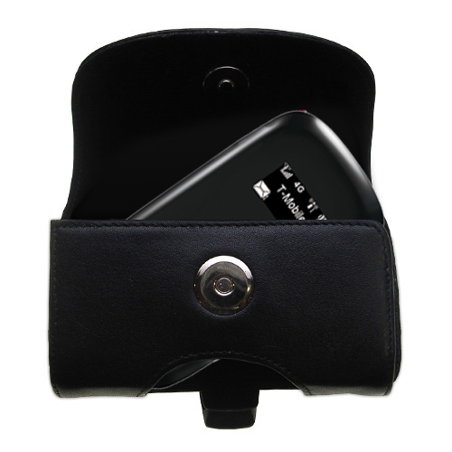 Gomadic Brand Horizontal Black Leather Carrying Case for the T-Mobile 4G Mobile Hotspot with Integrated Belt Loop and Optional Belt Clip