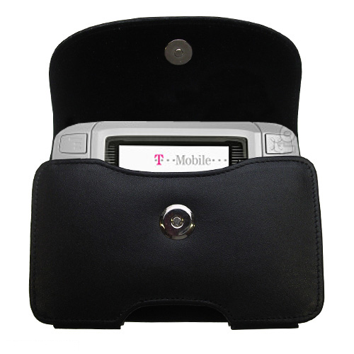 Gomadic Brand Horizontal Black Leather Carrying Case for the T-Mobile MDA IV with Integrated Belt Loop and Optional Belt Clip
