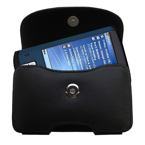 Gomadic Brand Horizontal Black Leather Carrying Case for the Toshiba e805 with Integrated Belt Loop and Optional Belt Clip