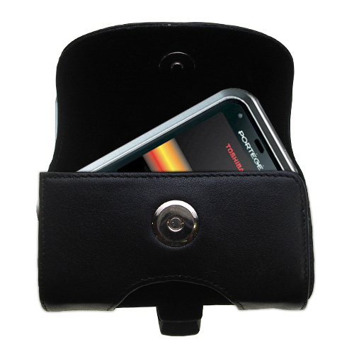 Gomadic Brand Horizontal Black Leather Carrying Case for the Toshiba G500 with Integrated Belt Loop and Optional Belt Clip