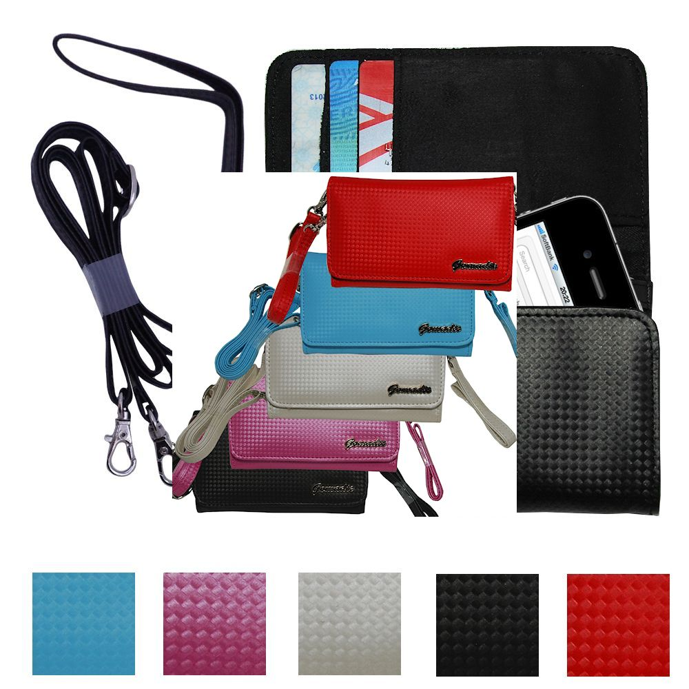 Purse Handbag Case for the Apple iPhone with both a hand and shoulder loop - Color Options Blue Pink White Black and Red