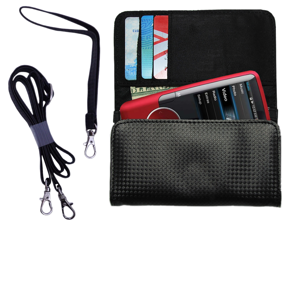 Purse Handbag Case for the Coby MP620 Video MP3 Player with both a hand and shoulder loop - Color Options Blue Pink White Black and Red