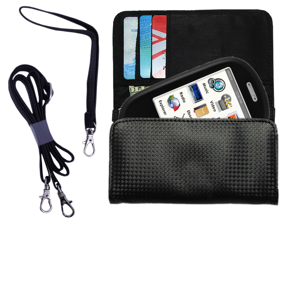 Purse Handbag Case for the Ematic E6 Series with both a hand and shoulder loop - Color Options Blue Pink White Black and Red