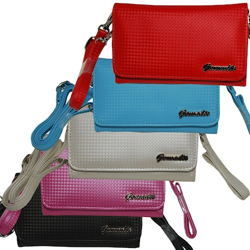 Purse Handbag Case for the HTC HD2 with both a hand and shoulder loop - Color Options Blue Pink White Black and Red