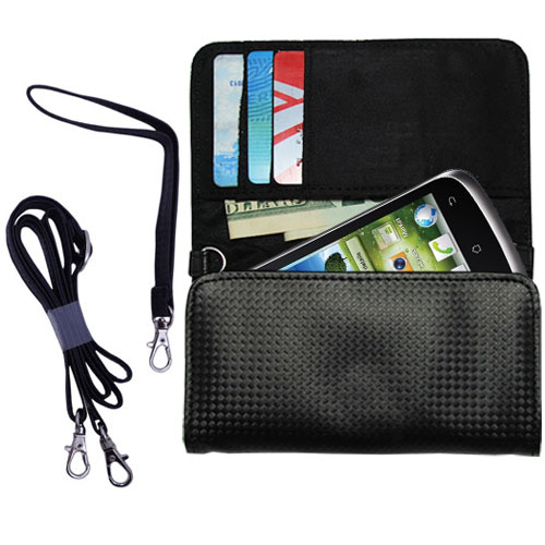 Purse Handbag Case for the Huawei U8815 with both a hand and shoulder loop - Color Options Blue Pink White Black and Red