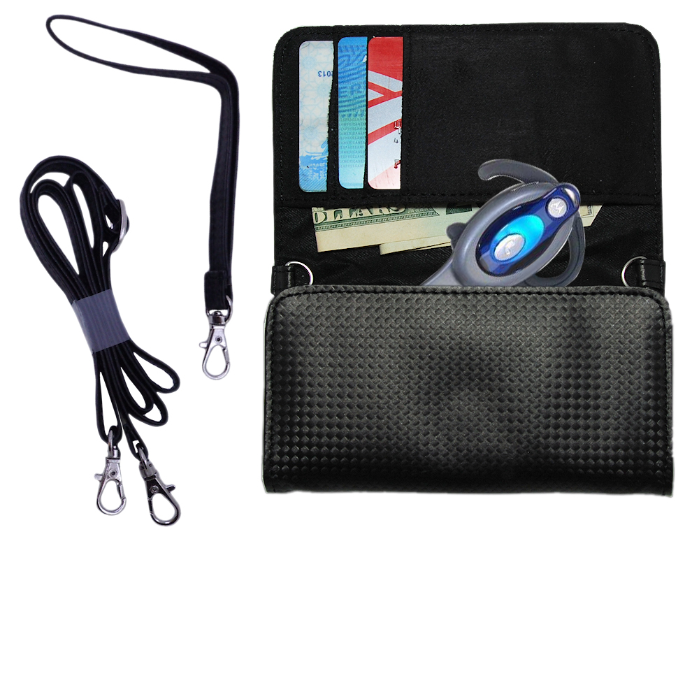 Purse Handbag Case for the Motorola HS850 with both a hand and shoulder loop - Color Options Blue Pink White Black and Red