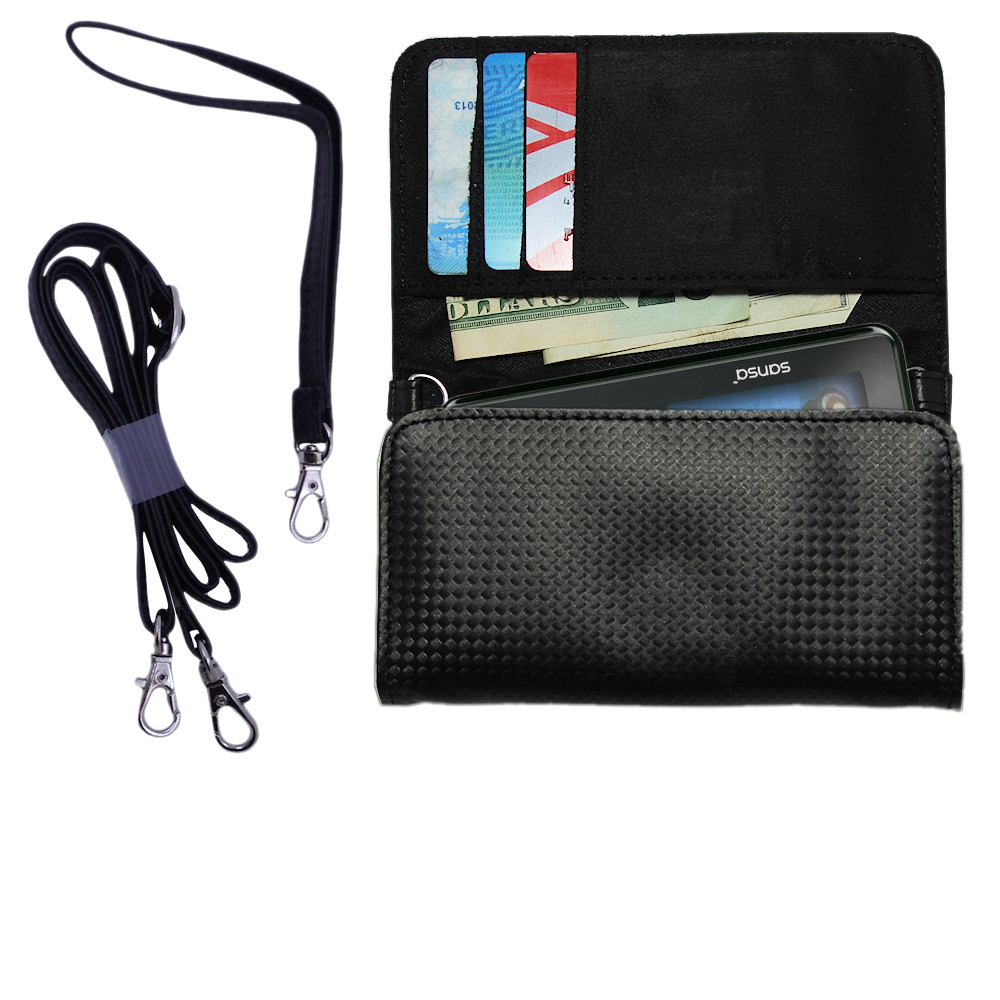 Purse Handbag Case for the Sandisk Sansa c240 with both a hand and shoulder loop - Color Options Blue Pink White Black and Red