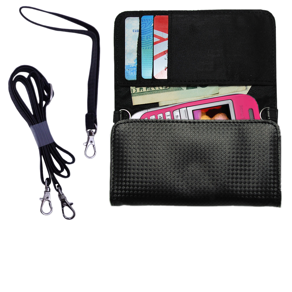 Purse Handbag Case for the Sony Ericsson J300c with both a hand and shoulder loop - Color Options Blue Pink White Black and Red