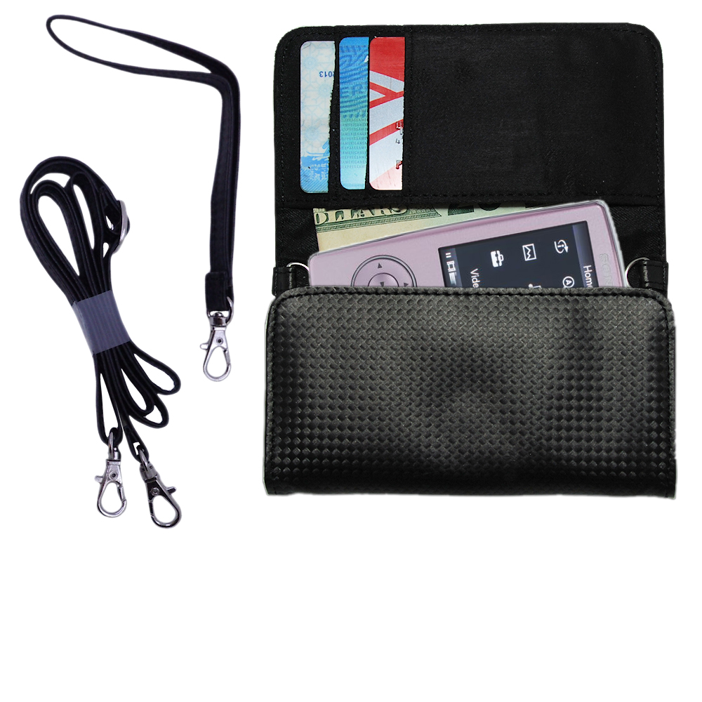 Purse Handbag Case for the Sony Walkman NWZ-A805 with both a hand and shoulder loop - Color Options Blue Pink White Black and Red