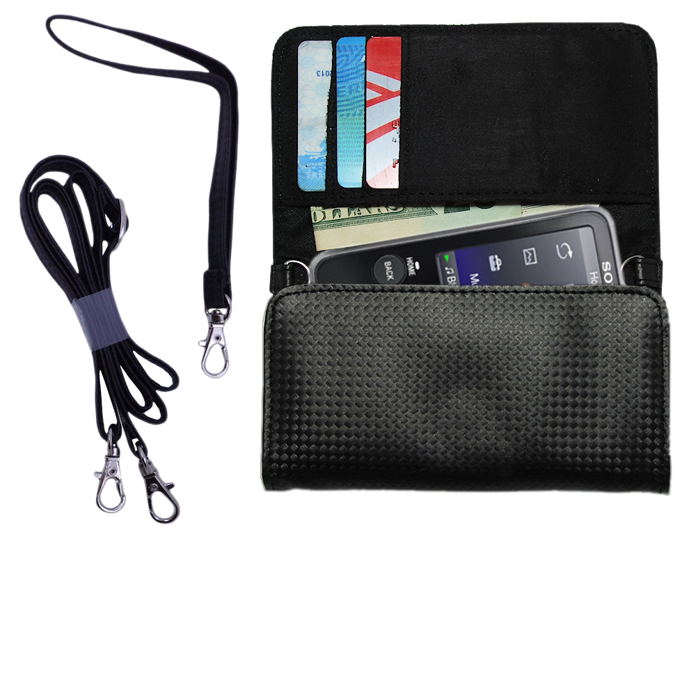 Purse Handbag Case for the Sony Walkman NWZ-E438F with both a hand and shoulder loop - Color Options Blue Pink White Black and Red