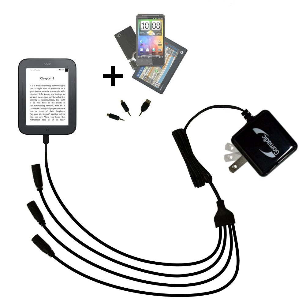 Unique Gomadic 4-Port Intelligent Compact AC Home Wall Charger suitable for the Barnes and Noble nook Original eBook eReader - High output power with a convenient and foldable plug design - Uses TipExchange Technology