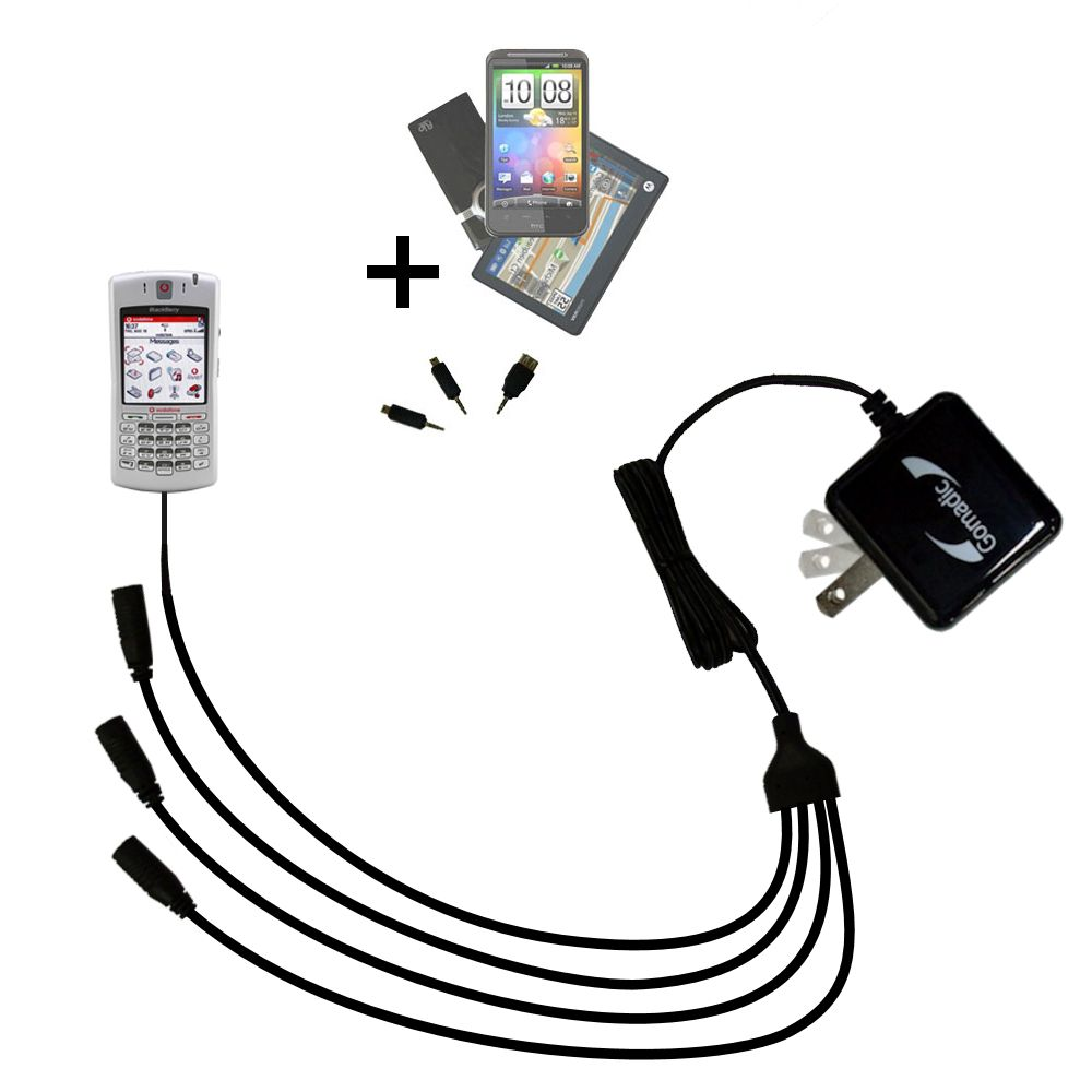 Quad output Wall Charger includes tip for the Blackberry 7100x