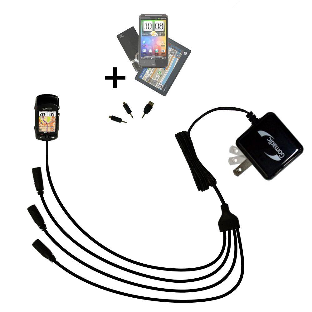 Quad output Wall Charger includes tip for the Garmin Edge 705