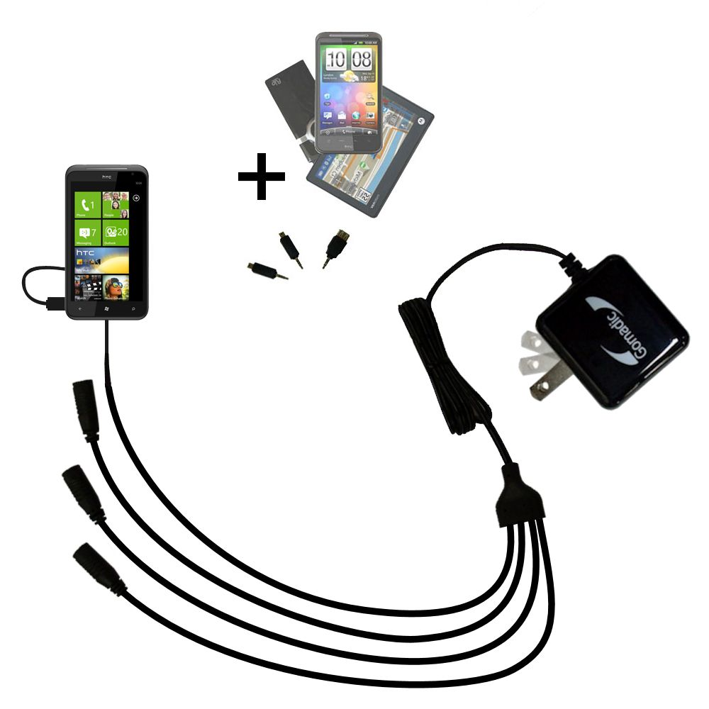Quad output Wall Charger includes tip for the HTC Titan