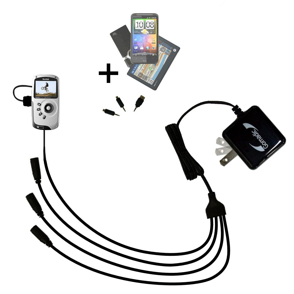 Quad output Wall Charger includes tip for the Kodak PlaySport Pocket Video Camera