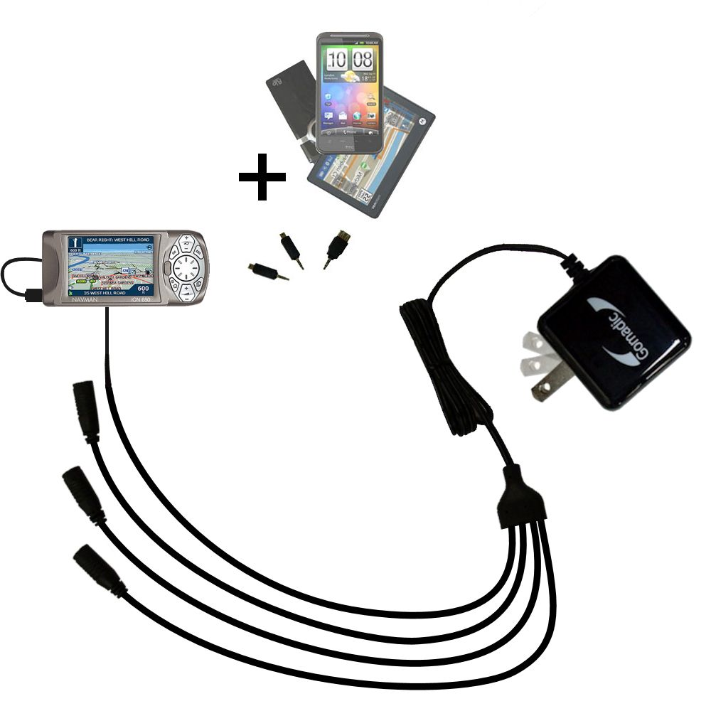 Quad output Wall Charger includes tip for the Navman iCN 650