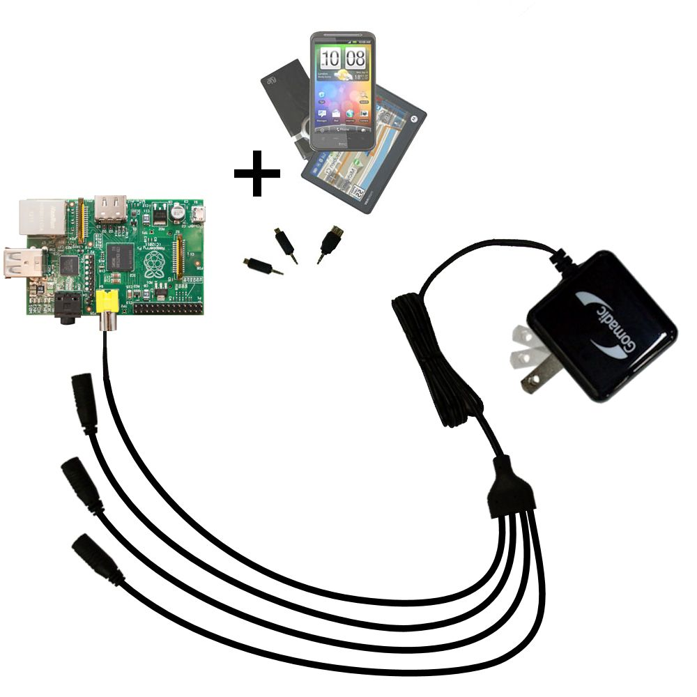 Quad output Wall Charger includes tip for the Raspberry Pi Board