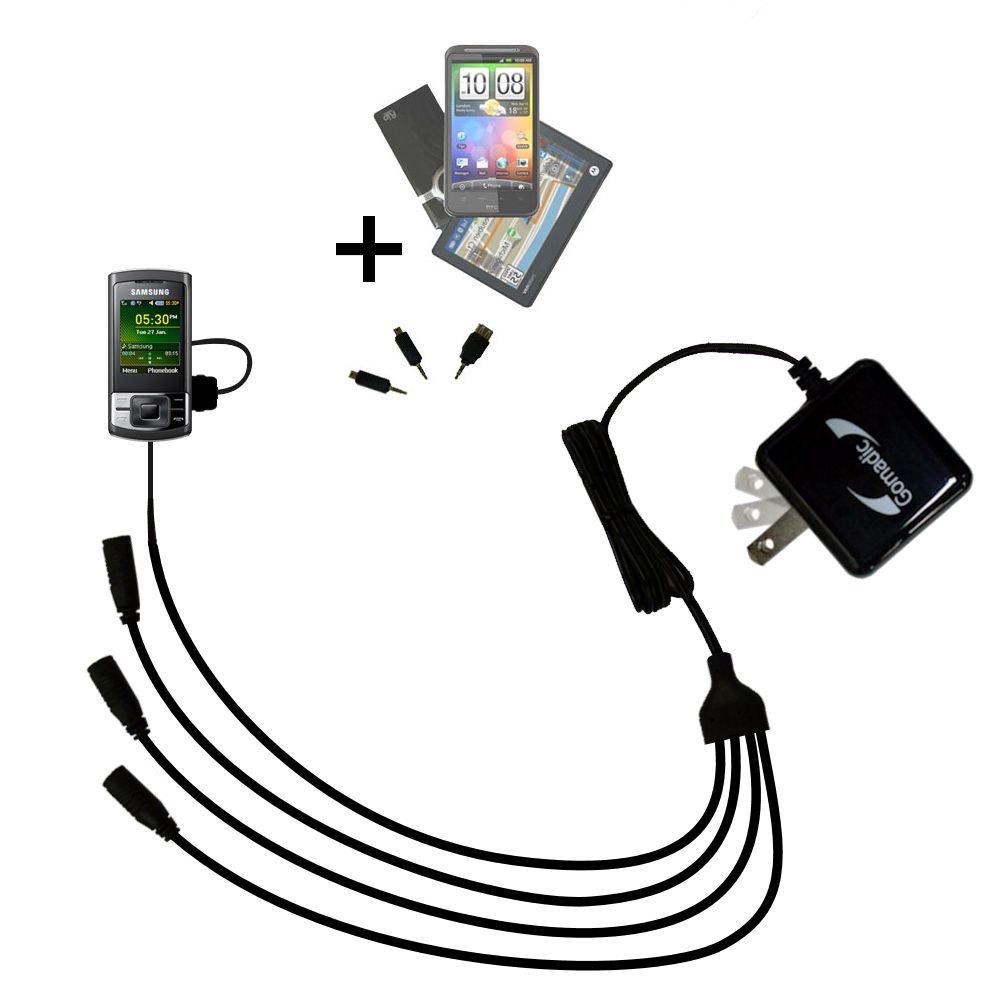 Quad output Wall Charger includes tip for the Samsung GT-C3050
