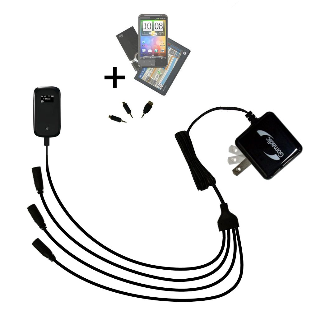 Quad output Wall Charger includes tip for the T-Mobile 4G Mobile Hotspot