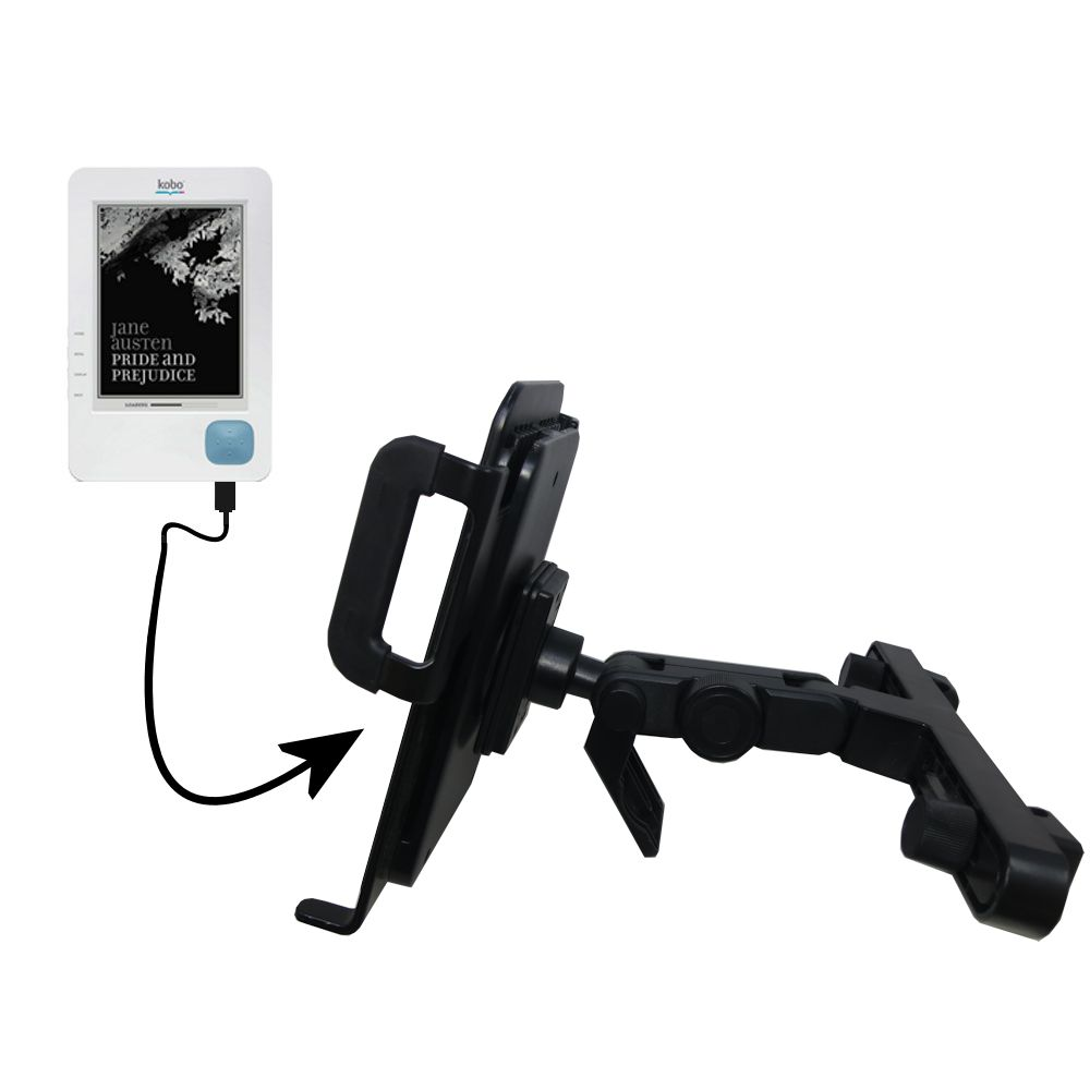 Gomadic Brand Unique Vehicle Headrest Display Mount for the Kobo eReader