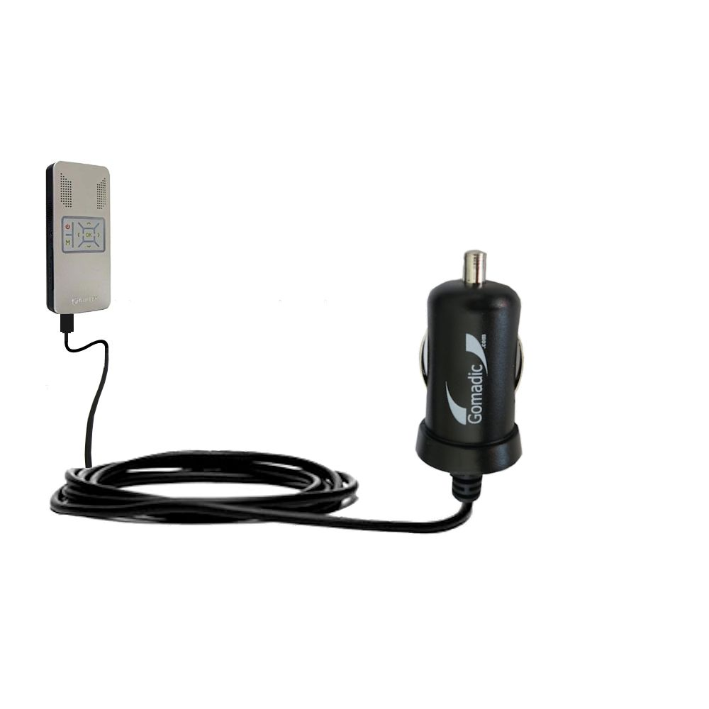 Gomadic Intelligent Compact Car / Auto DC Charger suitable for the Aiptek PocketCinema v50 - 2A / 10W power at half the size. Uses Gomadic TipExchange Technology