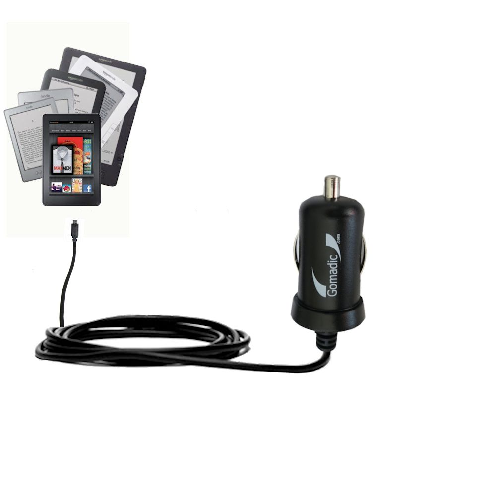 Mini Car Charger compatible with the Amazon Kindle Fire HD / HDX / DX / Touch / Keyboard / WiFi / 3G