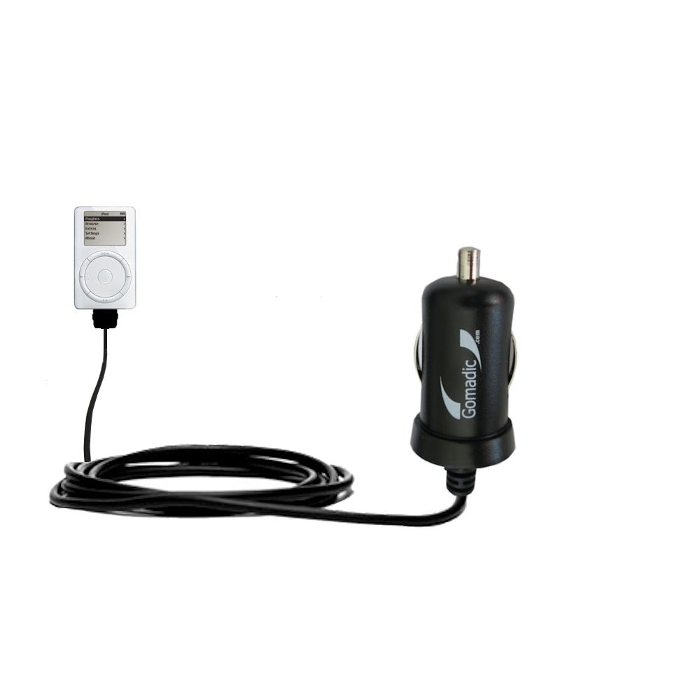 Gomadic Intelligent Compact Car / Auto DC Charger suitable for the Apple iPod 4G (20GB) - 2A / 10W power at half the size. Uses Gomadic TipExchange Technology