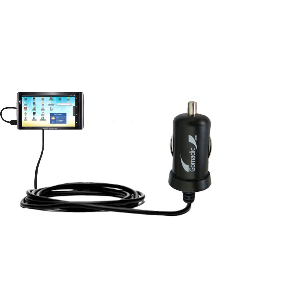 Gomadic Intelligent Compact Car / Auto DC Charger suitable for the Archos 101 Internet Tablet - 2A / 10W power at half the size. Uses Gomadic TipExchange Technology